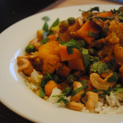 Cauliflower, Sweet Potato, and Chickpea Curry