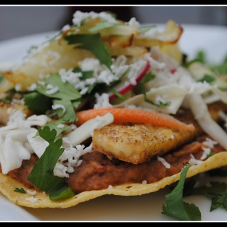 Coriander Tofu Tostadas with Refried Beans and Fennel + Weekly Menu