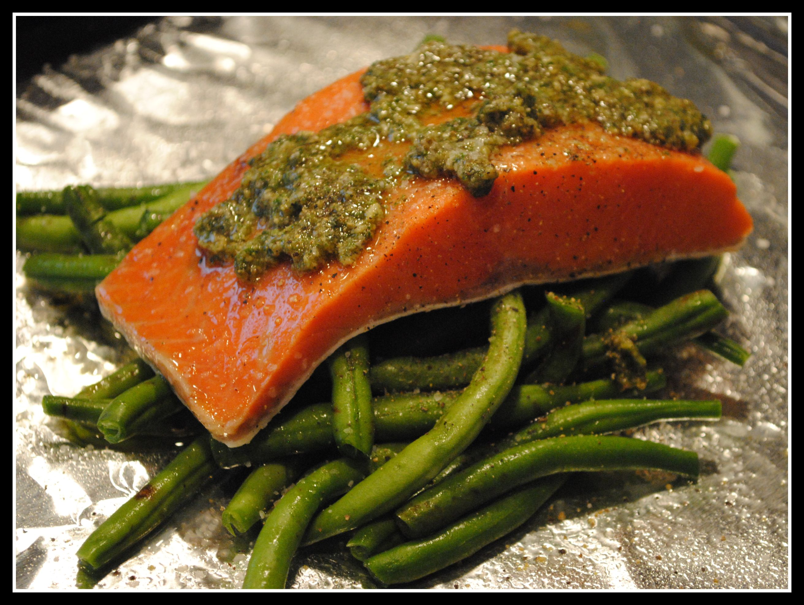 Salmon Baked In A Foil Parcel With Green Beans And Pesto