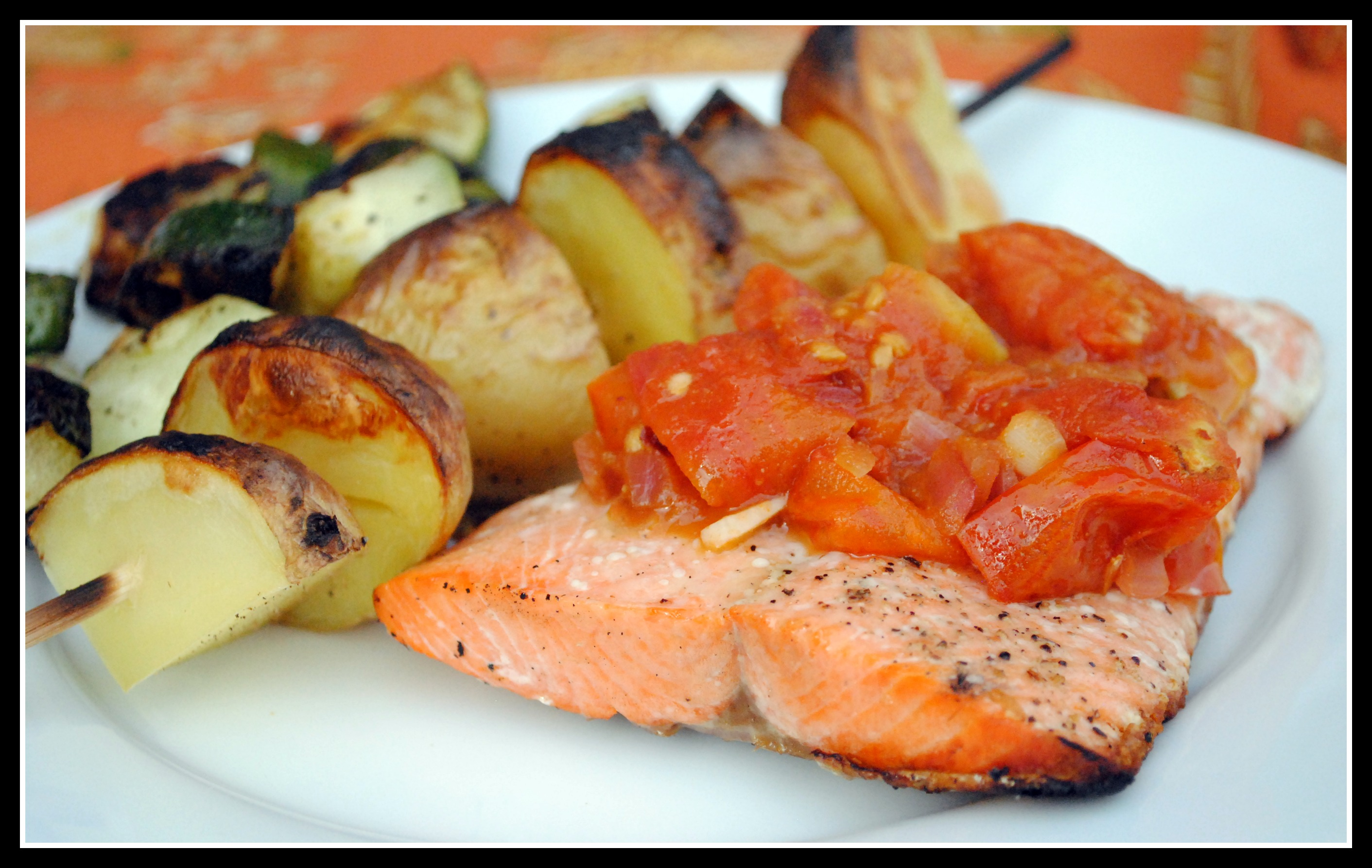 Grilled Salmon and Potatoes with Quick Tomato Chutney