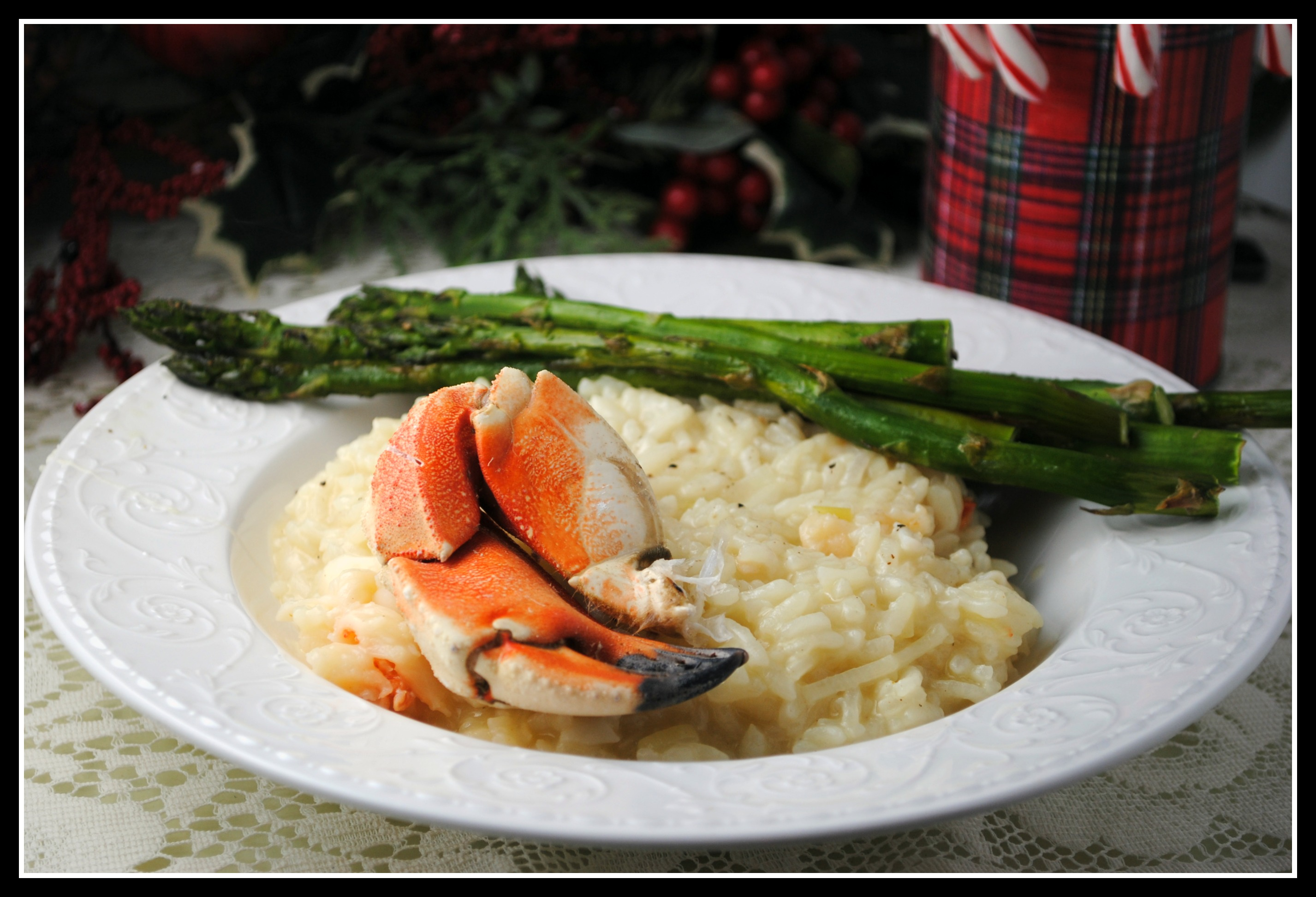 Buttery Lobster Risotto with Crab Claw and Asparagus ...
