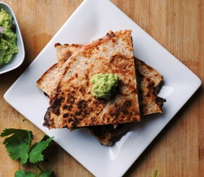 Love Your Heart: Chipotle Black Bean and Shrimp Quesadilla with Edamame Guacamole + Giveaway!