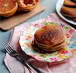 Grapefruit Cardamom Polenta Pancakes