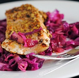 Crisp Salmon with Braised Red Cabbage and Mustard Sauce + GIVEAWAYS!