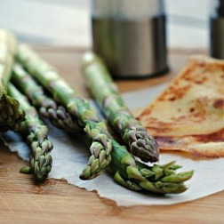 Meatless Monday: Grilled Crepes with Mozzarella and Shaved Asparagus
