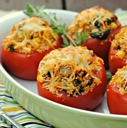Money Matters: Baked Tomatoes with Quinoa, Corn, and Green Chiles
