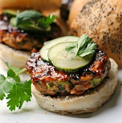 Hoisin-Glazed Salmon Burgers with Pickled Cucumber