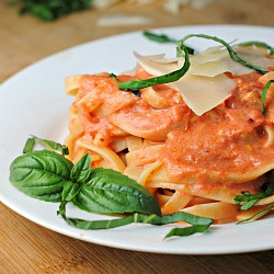 Money Matters: Fettuccine with Tomato-Cream Sauce + Weekly Menu