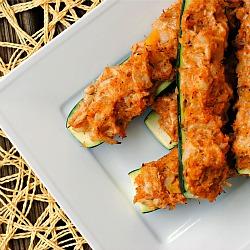 Crab-Stuffed Zucchini Boats + Weekly Menu