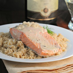 Champagne Poached Salmon with Champagne Cream Sauce