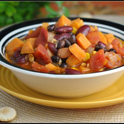 4th Annual Chili Contest: Entry #6 – 3 Bean Sweet Potato Chili + Weekly Menu