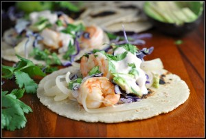 Honey-Lime Tequila Shrimp Tacos with Avocado and Chipotle Cream {Flavor MyPlate}