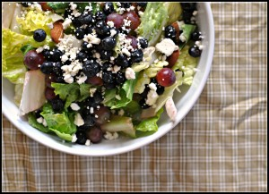 Salad with Blueberries, Grapes, and Almond Honey Mustard Dressing 3