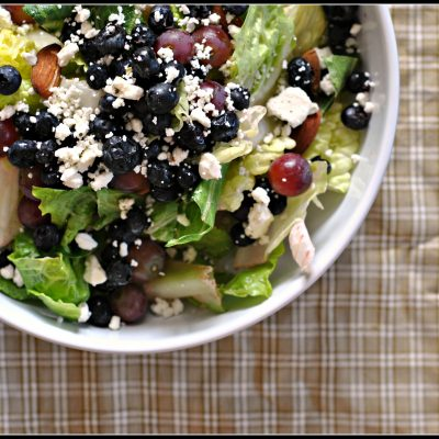 Salad with Blueberries, Grapes, and Almond Honey Mustard Dressing