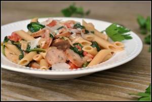 Creamy Chicken Sausage and Spinach Pasta 4