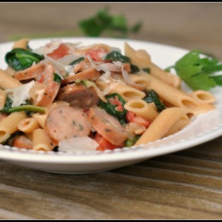 Creamy Chicken Sausage and Spinach Pasta 4