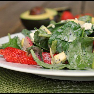 Strawberry Avocado Spinach Salad with Creamy Poppyseed Dressing