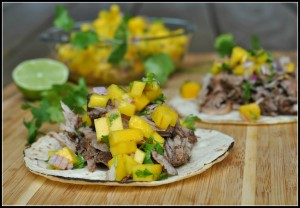 Caribbean Pork Tacos with Mango Salsa