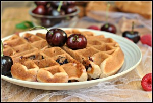 Cherry Almond Muffin Waffles + Weekly Menu