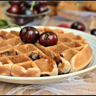 Cherry Almond Muffin Waffles + Weekly Menu