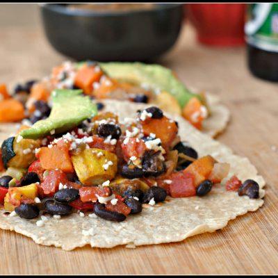 Roasted Vegetable and Black Bean Tacos {vegan}