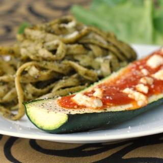 Goat Cheese and Marinara-Stuffed Zucchini + Weekly Menu