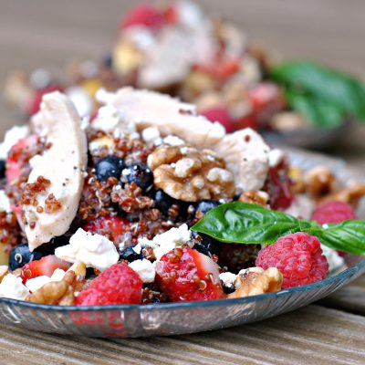 Fruit, Chicken, and Quinoa Salad with Citrus Poppy Seed Dressing