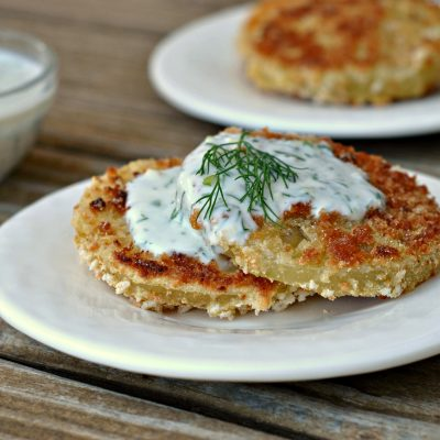 """Pickled """"Fried"""" Green Tomatoes with Buttermilk-Herb Sauce + Weekly Menu"""