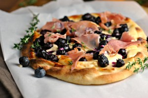 Blueberry Pizza with Honeyed Goat Cheese and Prosciutto 4