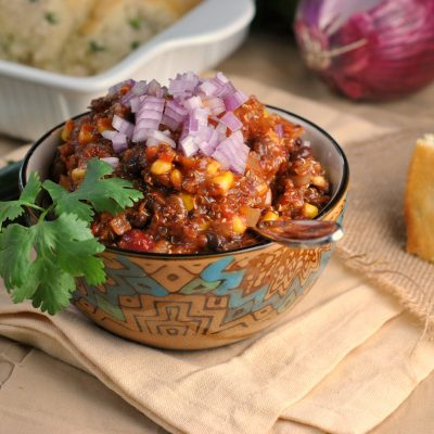 5th Annual Chili Contest: Entry #3 – Vegetarian Quinoa Chili + Weekly Menu