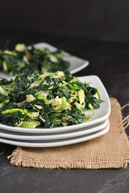 Massaged Kale and Brussels Sprouts Salad 1