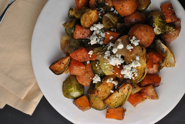 Roasted Sweet Potatoes, Brussels Sprouts, and Chicken Sausage 3