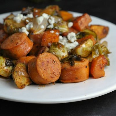 Roasted Sweet Potatoes, Brussels Sprouts, and Chicken Sausage