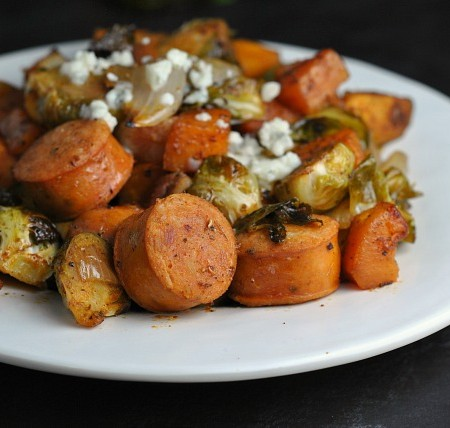 Roasted Sweet Potatoes, Brussels Sprouts, and Chicken Sausage 4