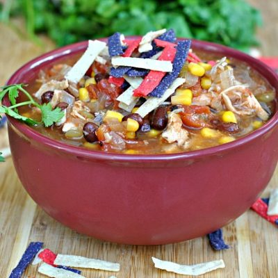 Slow Cooker Chicken Enchilada Soup + Weekly Menu
