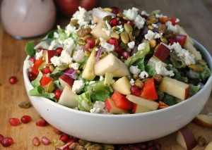 Pomegranate, Pear, and Pistachio Salad with Creamy Pomegranate Dressing + Weekly Menu
