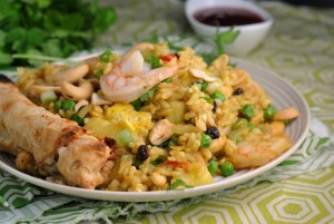 Shrimp and Pineapple Curry Fried Rice + Weekly Menu