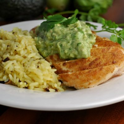 Cumin-Rubbed Chicken with Guacamole Sauce + Weekly Menu