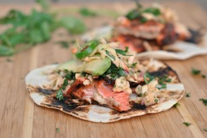 Salmon Tacos with Cilantro-Lime Slaw + Weekly Menu