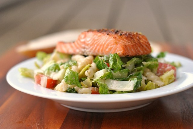 Caesar Salad with Salmon and Pasta 2
