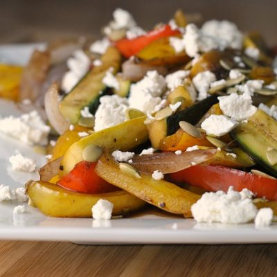 Vegetables in Balsamic Cream with Goat Cheese + Weekly Menu