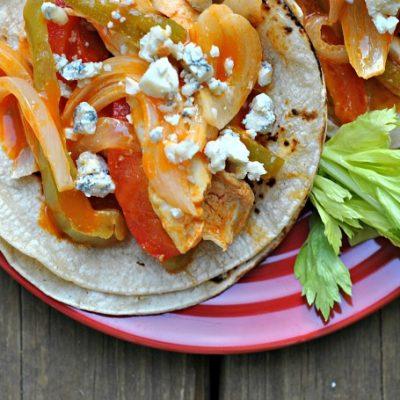 Easy Baked Buffalo Chicken Fajitas + Weekly Menu