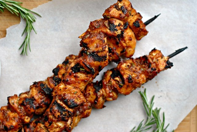 Garlic-Mustard Glazed Chicken Skewers 4