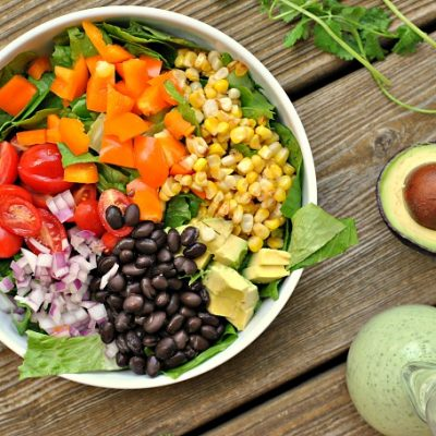 Mexican Chopped Salad with Creamy Cilantro-Lime Dressing + Weekly Menu