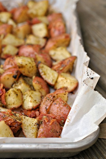 Roasted Pesto Bacon Potatoes 1