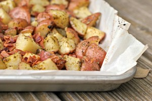 Roasted Pesto Bacon Potatoes