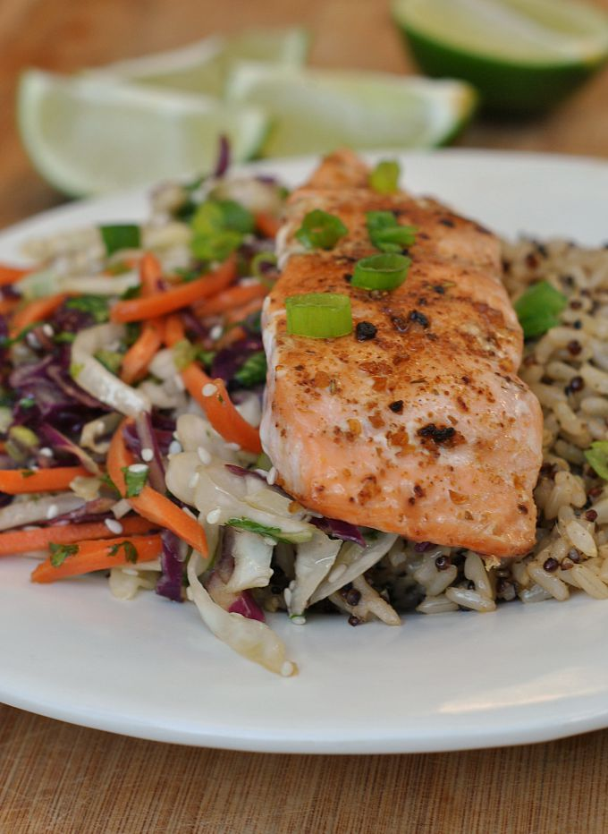 Sesame Cabbage Salad with Grilled Salmon 1