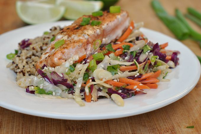 Sesame Cabbage Salad with Grilled Salmon 2