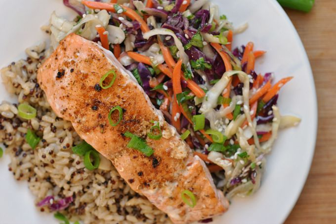 Sesame Cabbage Salad with Grilled Salmon 3