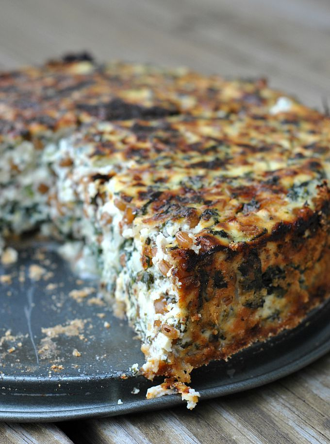 Two-Cheese Spinach and Wheat Berry Pie 3